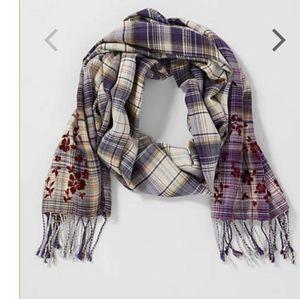 J JILL velvet Flower plaid scarf